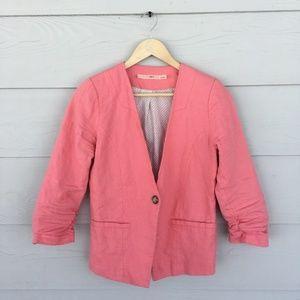 Blush Pink Linen Suit Jacket